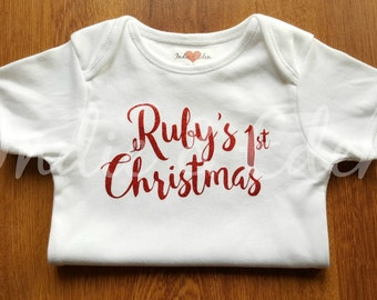 1st Christmas Girls Red Glitter Personalised Vest Baby Grow Babygrow Gift Photo Prop