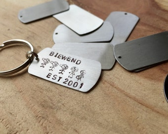 Custom keychain personalized keychain family keychain stick figure family personalized gift mom gifts dad gifts hand stamped keychain