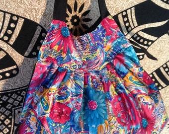 Vintage Style Silky Style Shoulder Bag Floral Flower