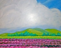 """18"""" x 18"""" Acrylic Landscape on Gesso Board """"View from Train Window"""". Custom made to order in any size."""
