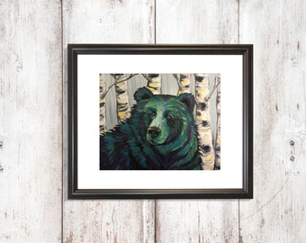 Bear in the Birch Trees Print