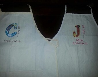 Adult Aprons with Applique Letter
