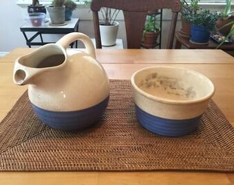 Universal Potteries, Cambridge O., Water Pitcher & Dish Union-made