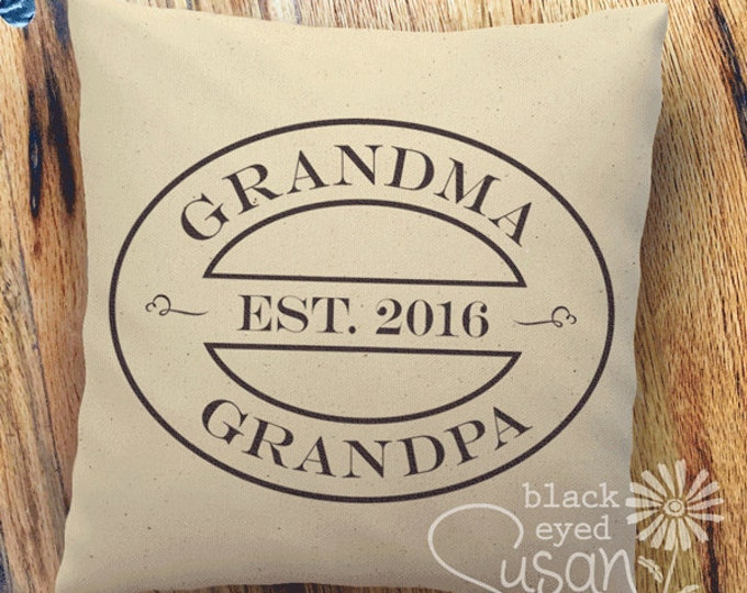 "16 Colors Choices: Grandpa & Grandma Pillow Cover of Natural Canvas or Lined Burlap | 12""x12"" 16""x16"" 20""x20"" 