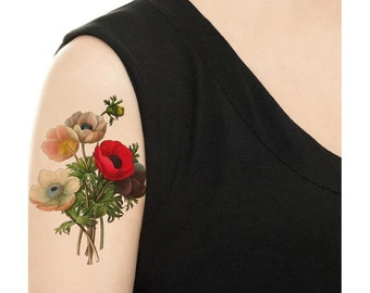 Temporary Tattoo - Vintage Floral - Various Sizes and Patterns