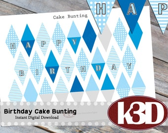 Happy Birthday mini Cake Bunting, Printable Cake Banner, Cake Decoration, Digital Download
