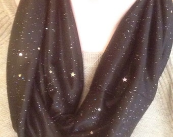 Black With Silver Sparkles Infinity Scarf