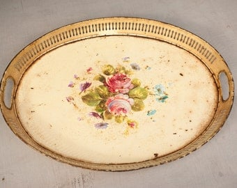 Vintage French Decorative Toleware Metal Tray