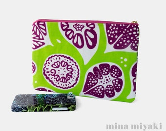 Frutti Print Zipper Makeup Pouch in Lime Green, White, Purple, Cosmetic, Toiletry, Purse, gift for her, Clutch, Carry-all bag, Fruit print