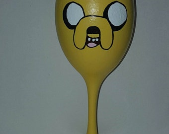 Hand painted Jake from Adventure time wine glass
