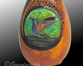 Gourd Art Carved Hummingbirds