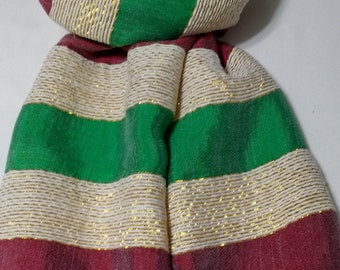 Women's 100% Handwoven Ethiopian Cotton Scarf in Red/White with Gold Accents and Bright Green Stripes