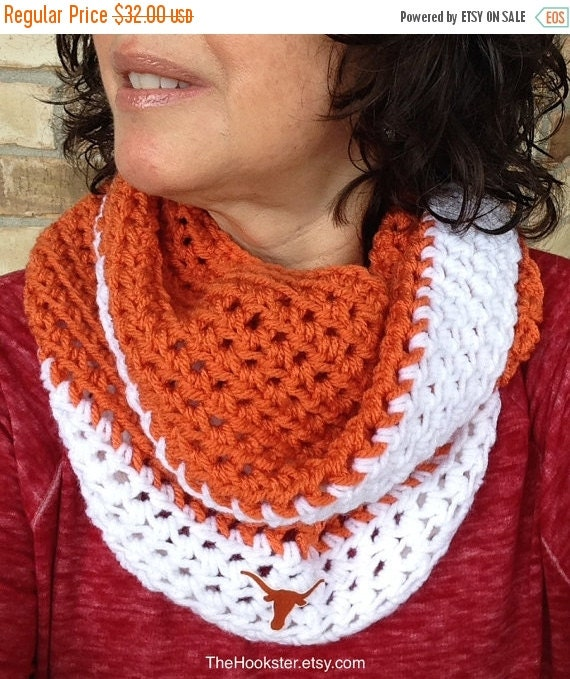 Crochet Pattern For Texas Longhorn Afghan : Crochet Texas Longhorns Scarf in Burnt Orange and by ...
