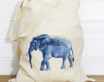 Elephant Print Cotton Tote Bag