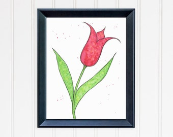 Red Tulip Art Print. Whimsical Tulip Wall Art. Watercolor Art. 8x10 Print. Mother's Day Gift. Office Wall Art. Gift for Mom. Gift for Her.
