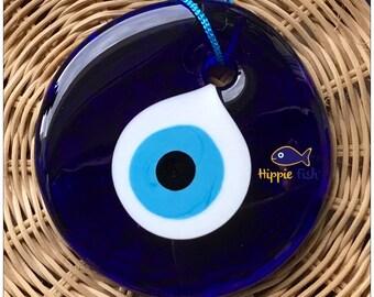 Evil Eye charm, boncuk, nazar, talisman, evil eye wall hanging, Greek, Turkish, blue evil eye,  eye, wall hanging, blue glass ornament, gift