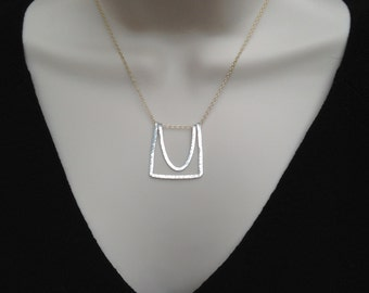 Hammered silver necklace, gold chain, art deco, curved, geometric, parabolic, mixed metal, nested, sterling silver, minimalist, modern