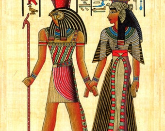 Papyrus  - Egyptian Horus and Nefertiti Papyrus - Egyptian collectibles