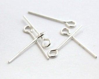 10pcs--Eyepins, 925 Sterling Silver, 23mm (B42-19)