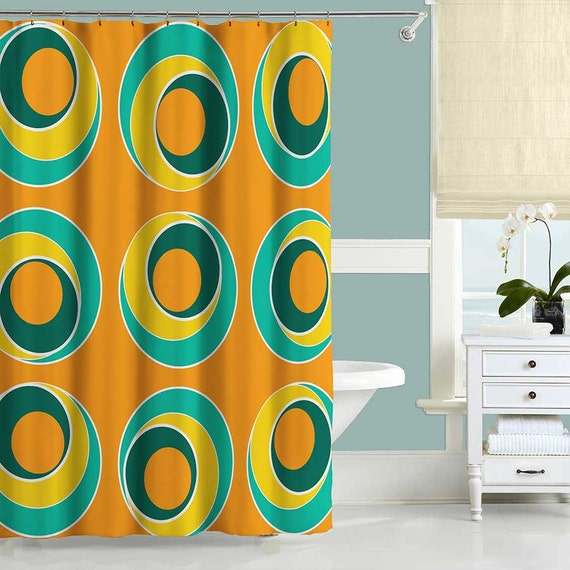 Items Similar To Colorful Shower Curtain Orange Shower Curtain Turquoise Ye