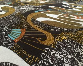 Vintage 70erStoff 130cmx100cm: Crazy pattern