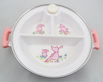 Excello Baby Divided Dish, Bo Peep Warming Dish, 3 Divided Sections on Rubber and Metal Base, Pink Graphics