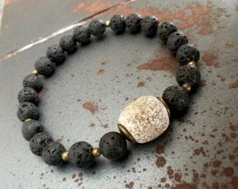 FREE SHIPPING Men's bracelet Mamooth Stegodon Bone Lava bracelet Black bracelet Bone bracelet beaded bracelet Gift for him  (#35)