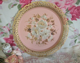 Vintage Nashco HP Roses Pink Toleware Tray, Signed