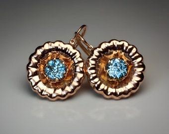 Early 1900s Aquamarine Gold Earrings