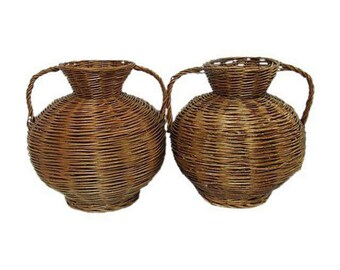 Mid Century Baskets  Matching Pair Hand Woven Baskets Handled Baskets Snake Style Baskets Farmhouse Baskets  Rustic Cabin Baskets