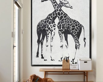 Large oil painting-Original Abstract painting on canvas-Home fine art-Giraffe