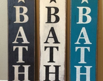 Primitive Bath Wood Wall Sign Stencil