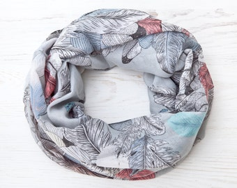 Summer Scarf Feathers Pattern, Summer Outdoors Party, Infinity Scarf Wings Shawl Gray Womens Scarves, Bridesmaid Gift Idea, Beautiful Scarf