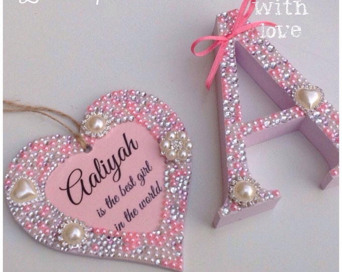 Personalised hanging heart with pearls & crystals. Wedding gift | Wooden embellished heart | Any colour | Heart plaque.