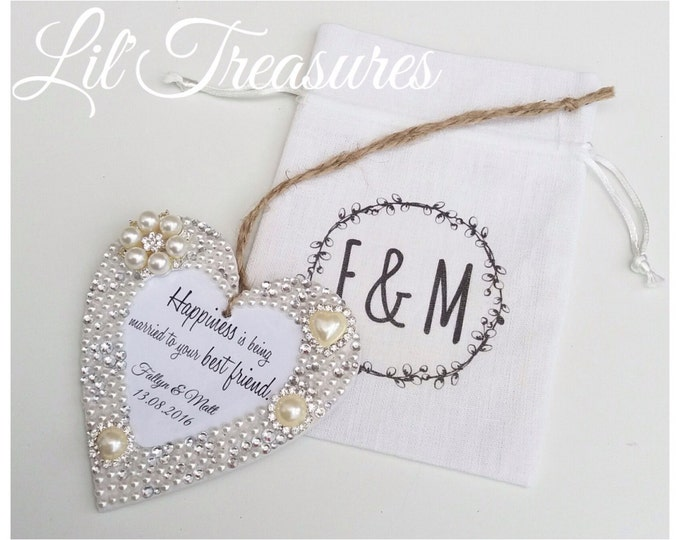 Personalised hanging heart with any quote/text | Pearls & crystals | Embellished heart | Wooden heart.
