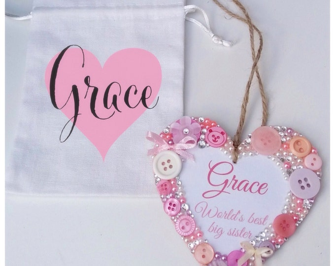 Personalised hanging heart with optional gift bag | Any quote | Buttons | Baby gifts | Birthday gifts | Plaques | Wall decor | Heart plaque