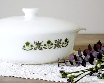 Milk Glass Covered Casserole Dish