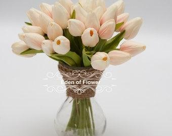 12 pcs Real Touch Mini Blush Tulip Flowers for Bridal Bouquets, Wedding Centerpieces, Home Decoration