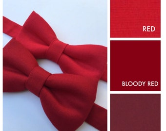 Red bow tie. Red baby boy bow tie. Red adult bow tie.