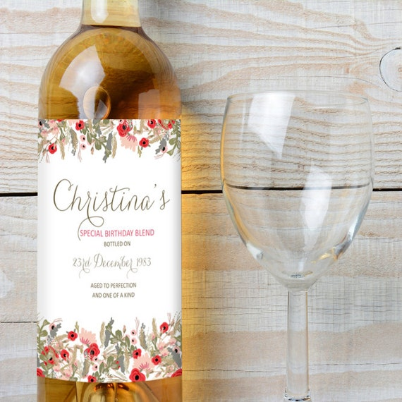 Wine Labels for Birthday - Pretty Vintage Floral Style which can be Personalised with Any Name and Birthday Date