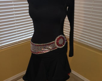 Latin dance dress black red size 12