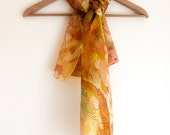 Hand Painted Silk Scarf - yellow brown and gold peacock feathers 100% silk
