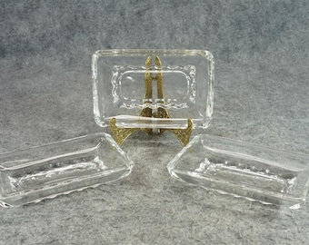 Vintage Rectangular Crystal Dishes X 3