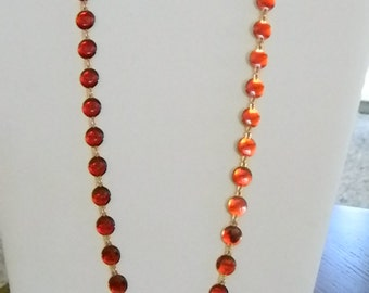 Long Red Round Chain Link Necklace