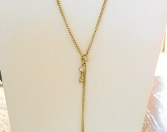 Muted Gold Tone Chain with Rhinestones Toggle Clasp