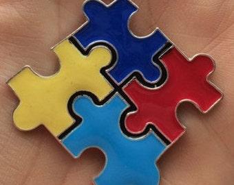 Autism Pendant, Chunky Necklace Pendant, Puzzle Pieces Pendant