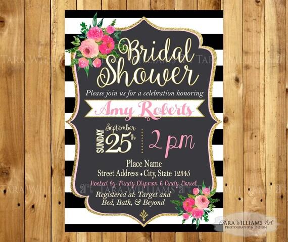 Black white striped bridal shower for Black and white bridal shower invitations