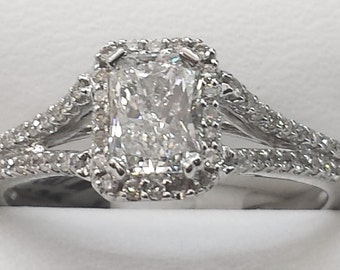 0.90ct E Vs quality radiant & round solitaire halo Diamond  engagement wedding Promise ring 14kt White Gold size 6.5  lowest price ever