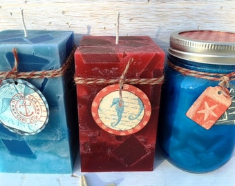 Set of 3 Recycled Wax Nautical Candles
