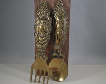 Vintage set of 2 brass,spoon and fork,turkish figure.
